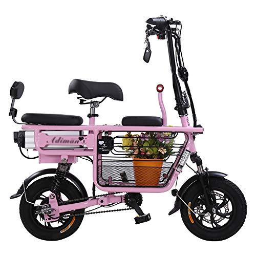 TOPYL Tres Asientos Padre-niño Bicicleta Electrica,Batería De Litio Bici Electrica Scooter,Plegable Mini Mujeres Madre Y Niños Ebike