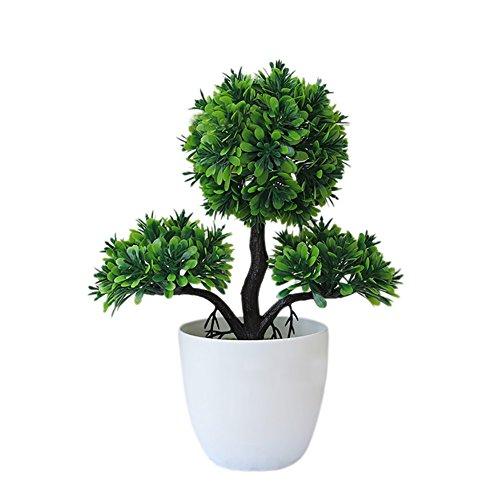Globalqi Simulation getopft 26* 9cm Kunstpflanze grün Kunststoff Topfpflanzen Dekoration Bonsai Deko Fensterbank Kaffee Tisch Büro Schule