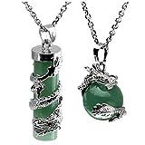 Jovivi 2pc Dragon Wrapped Green Aventurine Round Ball Cylinder Gemstone Healing Crystal Pendant Necklace Set