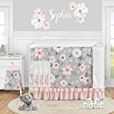 Sweet Jojo Designs Grey Watercolor Floral Baby Girl Nursery Crib Bedding Set - 5 Pieces - Blush Pink Gray and White Shabby Chic Rose Flower Polka Dot Farmhouse