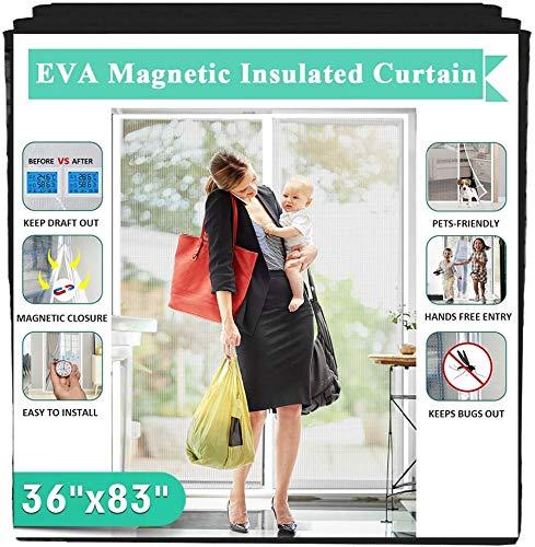 Rideau de porte magnétique transparent avec isolation thermique Profitez d'étés frais et d'hivers chauds avec (compatible avec des portes de dimensions allant jusqu'à 86,4 x 208,4 cm)