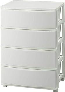 アイリスオーヤマ チェスト 収納ケース ワイド インテリア 4段 幅約53×奥行約38×高さ約81㎝ ホワイト (コロネシリーズ)