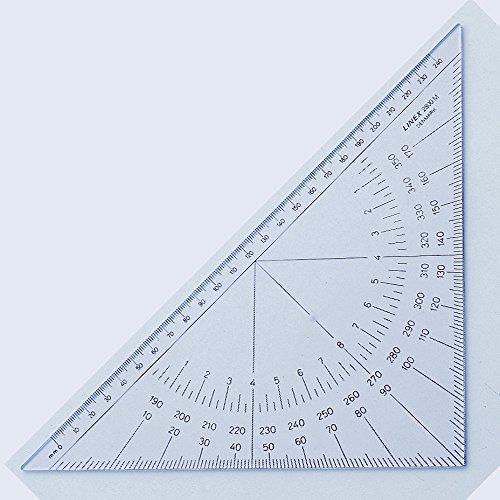LINEX 100414088 Nautischer Winkelmesser einfarbig beschriftet mit senkrechter Kante 280 mm