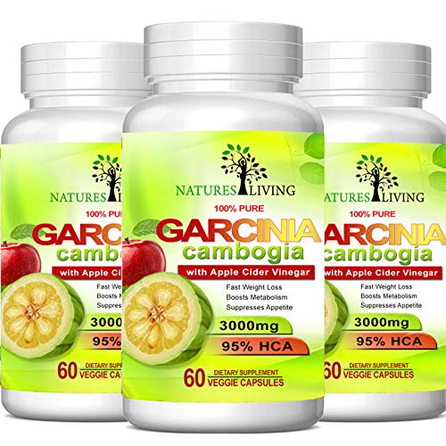 Pure Garcinia Cambogia Extract & Apple Cider Vinegar- 3000mg Capsules - All Natural Weight Loss, Detox, Digestion & Circulation Support - Best Weight Loss Supplement & Carb Blocker (3 Pack)…