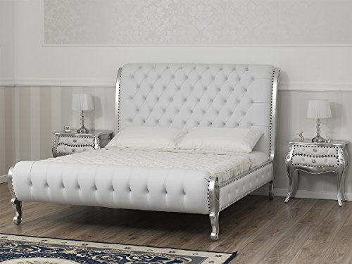 SIMONE GUARRACINO LUXURY DESIGN Cama matrimonial Ola Estilo Barroco Moderno King Size Color Hoja Plata Eco-Piel Blanca Botones Crystal Sw