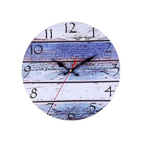 LIOOBO Orologio da Parete in Legno Vintage Silenzioso Decorazioni Mare Nautiche Arredamento Marino 30cm