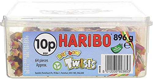 Haribo Rainbow Twists 64 Pieces Per Tub