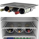 Portabottiglie di vino per esempio per frigorifero di BearTOP, metallo laccato bianco, inossidabile, per fino a 3 bottiglie