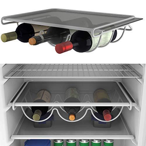 BEARTOP Weinhalter für z.B. Kühlschrank oder Regal weiß lackiertes Metall | rostfrei | sehr stabil | bis zu 3 Flaschen | ZUFRIEDENHEITSGARANTIE (3 Jahre)*