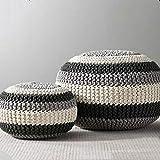 XER Marroquí Grande Puffe Pouffe Footstool Chunky Hand Pouf Pouf Pie Taburete Taburete de Estar Moderno Asiento de cojín por Confort Colecciones,Negro,30x20cm