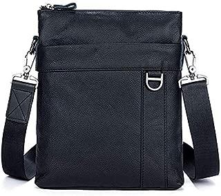 Men's Business Crossbody Bag Genuine Leather Cowhide Male One-Shoulder Small Bag (Color : Black)