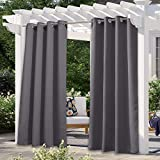 NICETOWN Waterproof Outdoor Curtain 120 inch Length Extra Long, Stainless Steel Grommet Blackout Privacy Protect Room Darkening Drape for Patio & Pool, Grey, 52-inch Width, Sold by 1 Panel