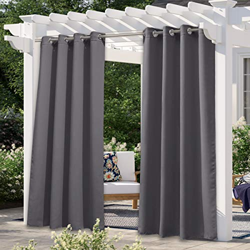 NICETOWN Patio Outdoor Curtain Grey Waterproof, Thermal Insulated Rustproof Ring Top Blackout Outdoor Indoor Window Drapes for Gazebo/Playground, 1 Panel, W52 x L95 Inch, Grey