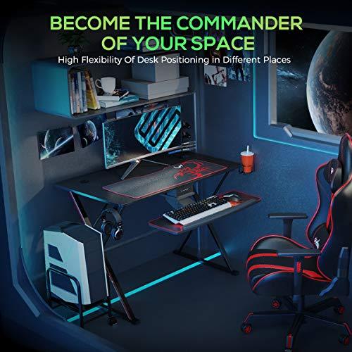 EUREKA ERGONOMIC Gaming Tisch X39 Gaming Schreibtisch Klein Gaming Computertisch PC Schreibtisch mit Getränkehalter und Kopfhörerhalter 100 * 60 cm Schwarz 3