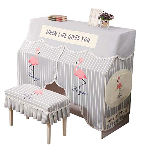 YBWEN Piano Cover Versierde Gestreepte Volledige Cover Handdoek Flamingo Piano Past op de meeste Piano Maten Piano Cover Tassen, Covers & Cases