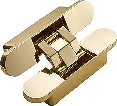 ZLDCTG Invisible Door Hinges 3D Adjustable Bearing Hinges Shiny Gold Black Bright Chrome Zinc Alloy Butt Hinge (Color : Gold)