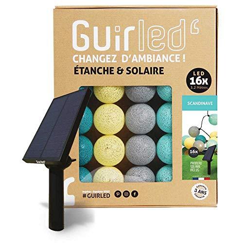 Guirlande d'extérieur boules lumineuses Guinguette LED - Étanche IP65 - Panneau solaire haut rendement - ON/OFF automatique - 16 boules 6m - Scandinave