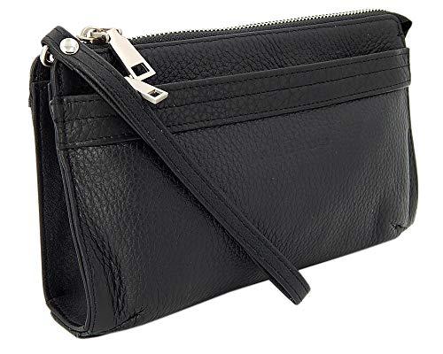 ekavale Elegante Herren Handgelenktasche Herrenhandtasche aus echtem Leder mit abnehmbarer Handgelenkschlaufe (Schwarz)