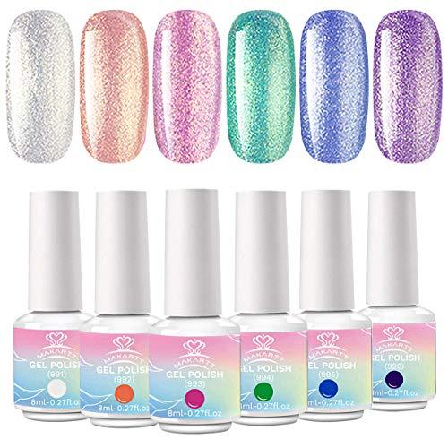 Makartt Ge Nagellack Set, Mermaid Atlantics Pink Pearl Holographisches Gel Nail Polish 8ML Kit 6 Farben Glimmer Shell Miracle Emerald Nail Art Design Kit