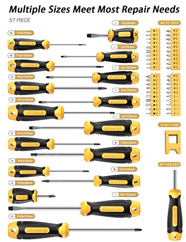Magnetic Screwdriver Set 57 PCS Includes Slotted/Phillips/Torx Mini Precision Screwdriver, CREMAX Non-Slip Repair Tool Kit with Replaceable Screwdriver Bits for Repair Home Improvement Craft