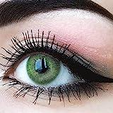 GLAMLENS lentillas de colores verdes Jasmine Green + contenedor. 1 par (2 piezas) - 90 Días - Sin Graduación - 0.00 dioptrías - blandos - Lentes de contacto verde de hidrogel de silicona