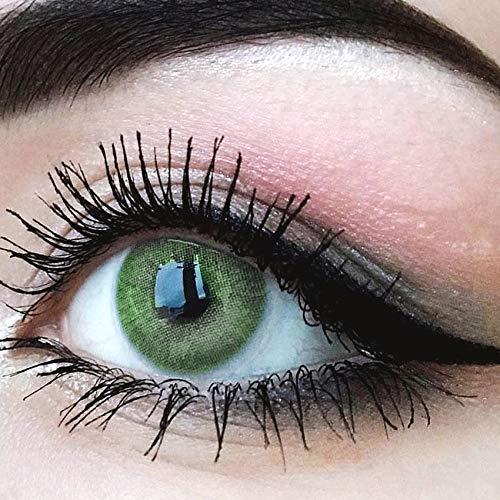 Glamlens lentilles de couleur vert naturelles colorées très haute opacité Jasmine Green + étuis à lentilles de contact I 1 paire (2 pièces) I DIA 14,00 I sans correction I 0,00 Dioptries