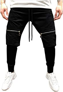 ZhixiaYS Men Pure Color Pocket Overalls Casual Pocket Sport Work Slim Fit Trouser Pants