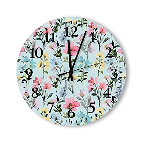 Reloj de pared de madera de 12 pulgadas, funciona con pilas, diseño floral salvaje, sin costuras, reloj de pared de madera, silencioso, sin garrapatas, para niños, cocina, oficina, sala de estar