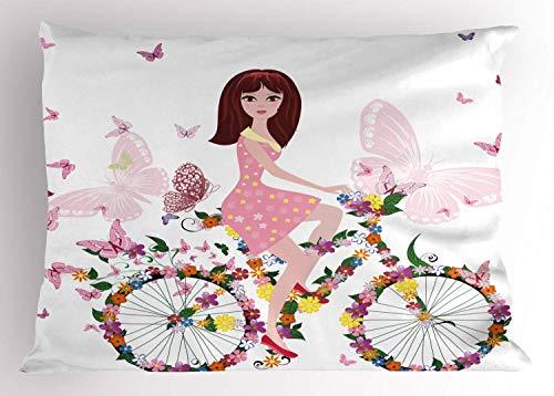 Funda de Almohada de Mariposa, diseño Floral de niña de Las Flores en la Bicicleta e ilustración de Mariposas, Funda de Almohada Decorativa Impresa de tamaño estándar, Rosa pálido y Blanco
