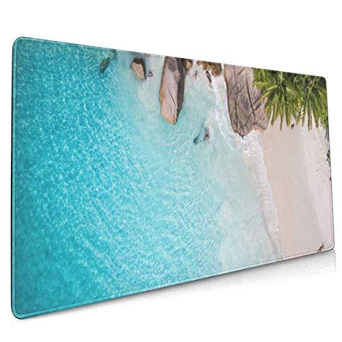 Multifunktions-Gaming-Mauspad, Computertastatur-Mauspads für Büro und Spiele - Tropisches Strandmeer und Palme aus Drohnen-Seychellen