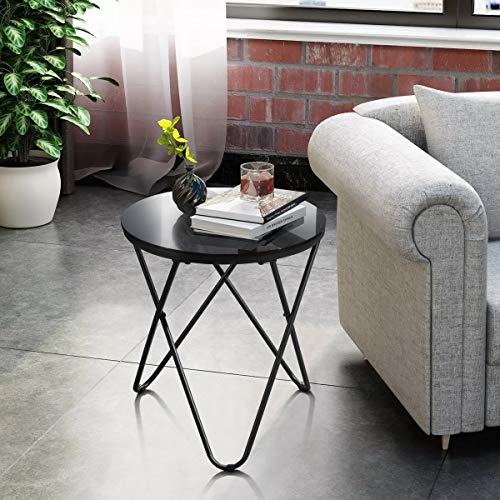 HOMYCASA Glass Tempered Top Round Table Side End Table Sofa Table Coffee Table with Hairpin Leg for Living Room (Black) (45 * 45 * 50cm)