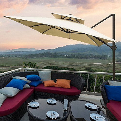 Abba Patio 9 x 12 ft Rectangular Patio Offset Hanging Umbrella Double Top Cantilever Umbrella with Easy Tilt & Cross Base for Garden, Deck, Backyard, Pool, Beige