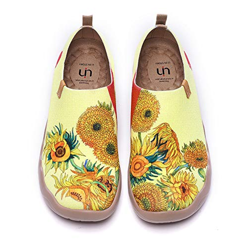 UIN Women's Fancy Slip On Flats Cute Casual Loafers Art Painted Comfort Knit Floral Shoes Sunflower (39)