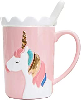 Prettyboy Ceramic 3D Personalized Unique Custom Design Porcelain Tea Cup Coffee Cup Mug with Tentacle (Pink Unicorn)