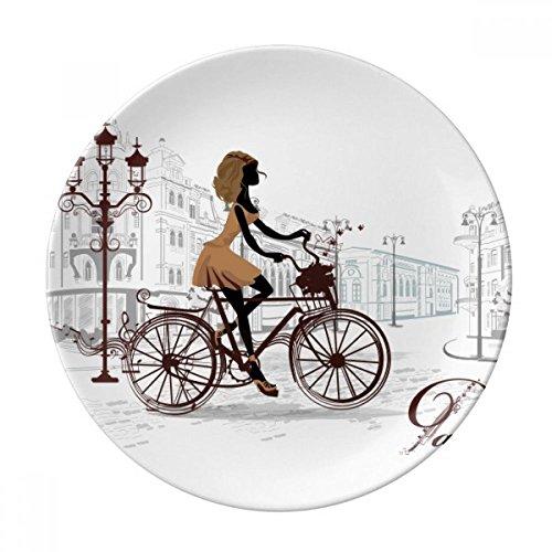 DIYthinker Vélo Dame France Illustration Motif Décoratif en Porcelaine Assiette à Dessert 8 Pouces Dîner Accueil Cadeau 21cm Diamètre Multicolor