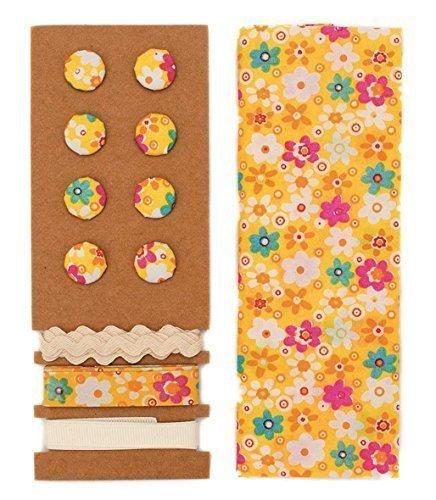 Lili Rose ensemble textile jaune Fleurs 48x48cm Bandes 3x1m 8 Boutons