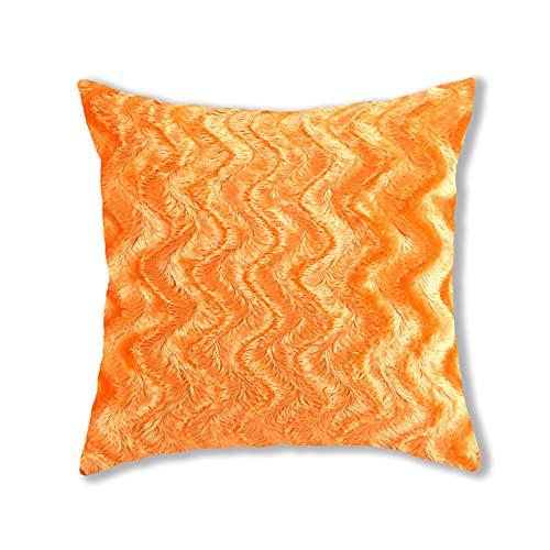 Fundas de almohada de felpa, estilo simple, cuadradas, súper suaves, fundas de cojín, fundas de almohada, decoración creativa del hogar, para sofá, cama, silla (naranja, 43 x 43 cm)