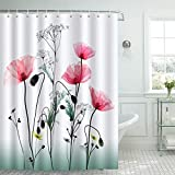 Bonhause Duschvorhang 180 x 180 cm Rote Blume Mohnblumen Duschvorhänge Anti-Schimmel Wasserdicht Polyester Stoff Waschbar Bad Vorhang für Badzimmer mit 12 Duschvorhangringen