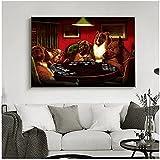 Perros jugando al póquer, divertido, fresco, mascota, perro Pug en Casino, lienzo artístico, pintura, póster e impresión, cuadro artístico de pared, sala de estar, decoración del hogar