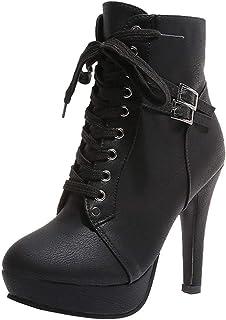 Zapatos Mujer,ZARLLE Zapatos De Mujer Botines Cortos Botas De Plataforma con Cordones De Cuero De Cabeza Redonda De Mujer De Moda Botas De TacóN Alto Casual Zapatos