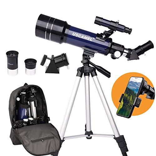 Telescopio Astronómico para niños, Adultos, Principiantes, Portátil y Potente Telescopio Profesional 16X-200X con Mochila, Trípode, Telescopio Refractor para Observación de la Luna y el Paisaje