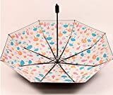 GFF Sombrilla Sasan Student Plegable sombrilla Negra Protector Solar Paraguas Ultra Fuerte Anti Ultravioleta Setenta por ciento de Descuento Daisy Cherry Blossom Paraguas, champiñón arroz Blanco
