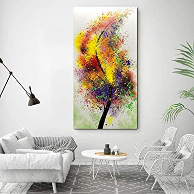 Boiee Art,24x48Inch Hand-Painted Colorful Abstract Lucky Tree Oil Paintings Vertical Contemporary Artwork Tree of Life Wall A