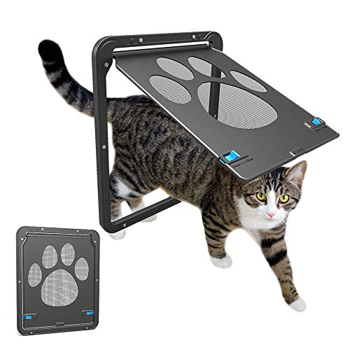 Owpkeenthy WHYSP Cat Dog Screen Door, Sliding Screen Glass Dogs Door with Magnetic Flap Lockable Pet Door for Exterior Doors for Kitties and Doggie Puppy Small Dogs Cats, 12x14x0.4 inch