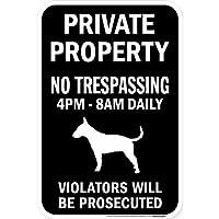 PRIVATE PROPERTY ブラックマグネットサイン:ブルテリア シルエット 英語 私有地 無断立入禁止