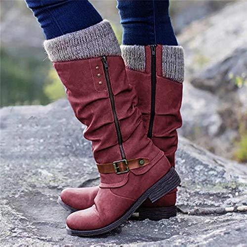 LYYJF Botas altas hasta la rodilla gruesas de tacón bajo, zapatos vintage de cuero sintético gladiador caballero cálido zapato, rojo, 42 EU