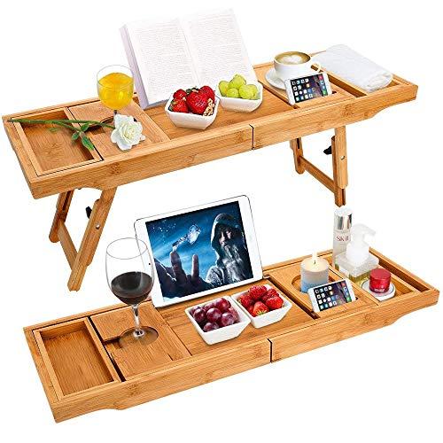 WIG-WYF Bandeja y Mesa de Cama de bambú para bañera de Lujo con Patas Plegables, Lados Extensibles, Soporte para Tableta de Libro Integrado, Bandeja para Copa de Vino y Soporte para iPad