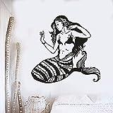 sanzangtang Ocean Fish Princess Wall Art Sticker Sea Fish Style Ocean Fish Princess Etiqueta de la Pared extraíble baño decoración del Acuario,64x63cm