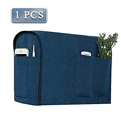 Joywell Linen Armrest Covers for Living Room Anti-Slip Sofa Arm Protector for Dogs, Cats, Pets Armchair Slipcover for Recliner with 4 Pockets for TV Remote Control, Phone, Set of 1, Classic Blue