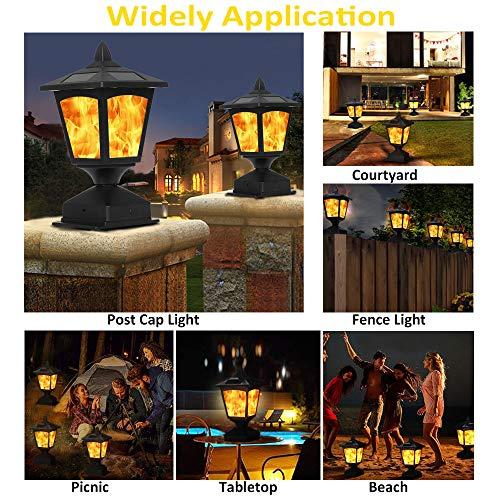 Solar Post Light,Outdoor Post Cap Light Flickering Flame Light for Fence, 4 x 4 Led Waterproof Deck Lamp Post Top Solar Powered Light for Pathway Garden Patio Yard Landscape Decoration, Black (2 pack)
